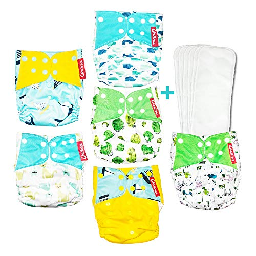Washable Reusable Baby Cloth Pocket Diapers 6 pack + 6 Bamboo Inserts (sailing boats and cats) ()