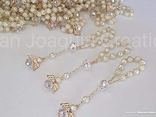 25 Pc Ivory Color Baptism Favors with Angels Mini Rosaries Gold Plated Acrylic Beads/ Recuerditos De Bautismo/ Christening Favors/ Decenarios/ Decades/ Finger Rosaries