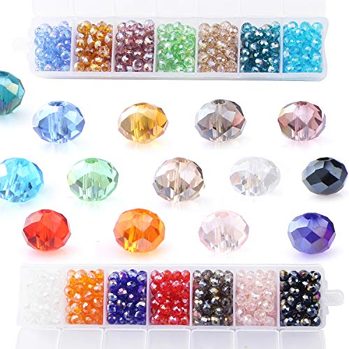 (Glass Crystal Beads Clear Rondelle Spacer Beads 6MM Briolette Faceted Assorted Color for Jewelry Making with a Free Container Box(700pcs,14colors),YUANZHIRUN)