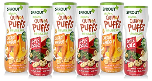 Sprout Organic Baby Food, Sprout Baby Snack Quinoa Puffs Variety Pack (Carrot Mango and Apple Kale) 1.5 Ounce Canister (Pack of 6)