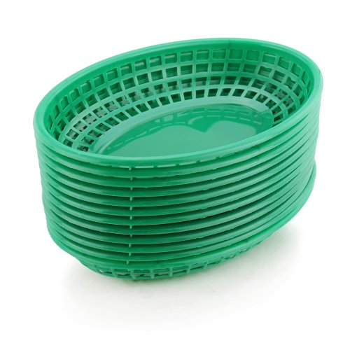 New Star Foodservice 44133 Fast Food Baskets, 9.25 x 6 Inch Oval, Set of 36, Green ()