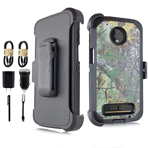 Compatible for Moto Z3 Play Case, Moto Z3 Case, Heavy Duty Defender Case, Belt Clip Holster w/ [Built-in Screen] Shockproof Armor Cover for Motorola Moto Z3 Play (Accessory Bundle) (Camo)