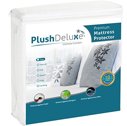 PlushDeluxe Twin Premium 100% Waterproof Mattress Protector Hypoallergenic, Vinyl Free, Breathable Soft Cotton Terry Surface - 10 Year Warranty from (Waterproof Twin Mattress Pad)