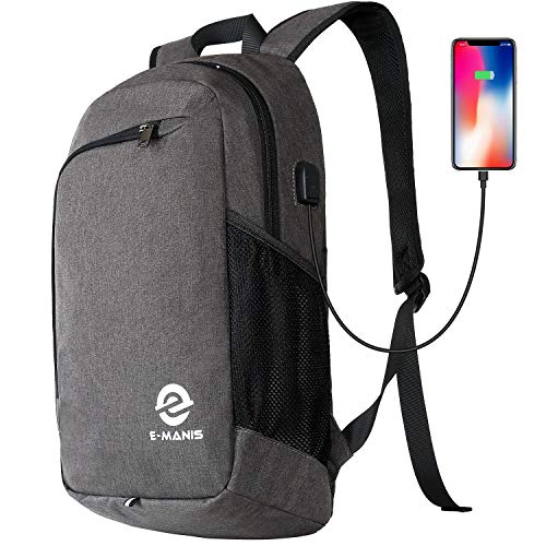 E-MANIS Laptop Backpack,Business Anti Theft Slim Durable Laptops Backpack with USB Charging Port,Water Resistant College School Computer Bag for Women & Men Fits 15.6 Inch Laptop and Notebook ()