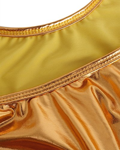 d9e08b48a2 FEESHOW Women s Metallic Bodysuit High Cut Swimsuit One Piece Bikini Thongs  Leotard Top