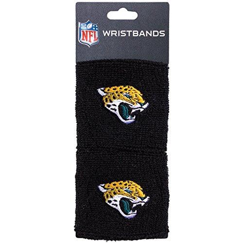 NFL Jacksonville Jaguars Franklin Sports Jacksonville Jaguars Embroidered Wristbandsnfl Embroidered Wristbands, Black, One Size