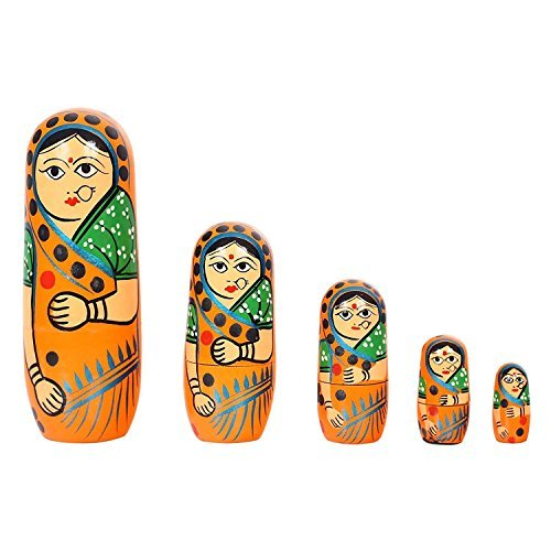 Hand Painted Peg - ITOS365 Hand Painted - Nesting Doll - Wooden Decoration Gift Doll - Stacking Nested Wood Dolls for Kids - Set of 5 (5 dolls in 1)