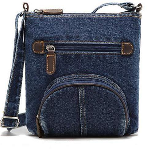 (Blue Denim Shoulder Bags Handbag Classical Women Messenger Bag Front Pocket)
