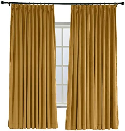 TWOPAGES 100 W x 96 L Pinch Pleated Curtains Room Darkening Velvet Curtain Drapery Panel for Traverse Rod Or Track, Living Room Bedroom Meetingroom Club Theater Patio Door 1 Panel , Wheat