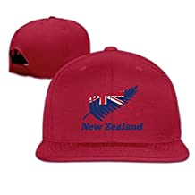 Man Woman New Zealand Flag Leaves Logo Flat Bill Hat Ash