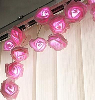 Zking 20 LED Battery Operated String Flower Rose Fairy Light Wedding Room Garden Christmas Decor (pink)