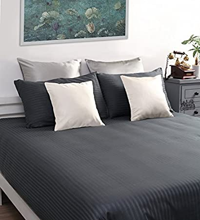Satin Stripe Bedsheets For Double Bed, High Thread Count Bedsheet,  Dreamscape 220 TC Grey