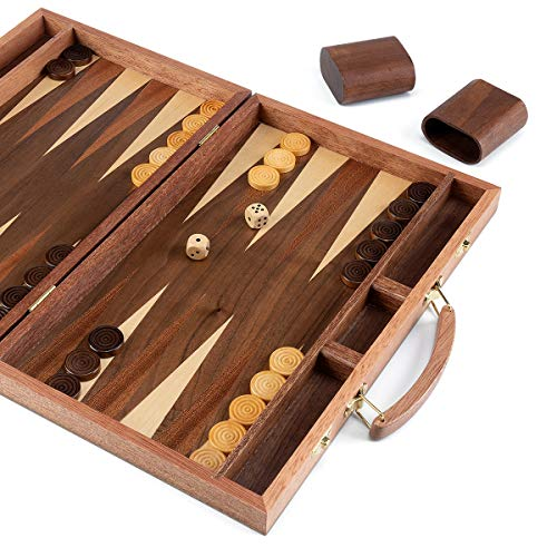 ROPODA Sapele Wood Backgammon Board Game Set (15 Inches) for Adults and Kids - Classic Board Strategy Game - Portable and Travel Backgammon Set with Wooden Playing Pieces and Accessories