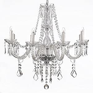 Saint Mossi Chandelier Modern K9 Crystal Raindrop Chandelier Lighting Flush mount LED Ceiling Light Fixture Pendant Lamp for Dining Room Bathroom Bedroom Livingroom 6 E12 Bulbs Required H28 W28