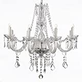 Saint Mossi Chandelier Modern K9 Crystal Raindrop Chandelier Lighting Flush mount LED Ceiling Light Fixture Pendant Lamp for Dining Room Bathroom Bedroom Livingroom 6 E12 Bulbs Required H28 W28