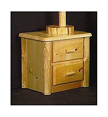 Northwoods 2 Drawer Log Nightstand (Honey Pine)