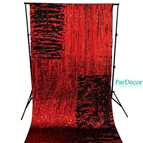 - Sequin-Backdrop-10FTx10FT Red to Black Glitter Backdrop Mermaid Wedding Photo Booth Decorations Curtain Panel for Door Shimmer Sequin Fabric Curtain Backdrop for Party ~ 0615C