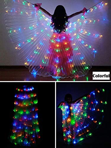 Lantern Dance Fairy Opening Belly Dance LED Isis Wings with Sticks RodsWings 300 LED Luminous Light Up Stage Performance Props Passed CE