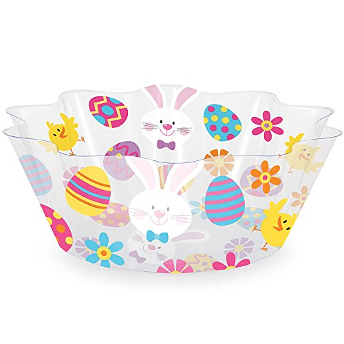 Easter Bowl (Creative Converting 319417 12 Count Easter Fluted Plastic Bowl, Easter Eggs and Easter Bunny)