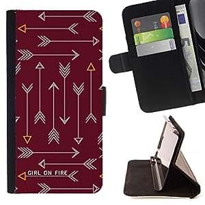 Momo Phone Case / Flip Funda de Cuero Case Cover - Feu texte Maroon Brown - Samsung ALPHA G850