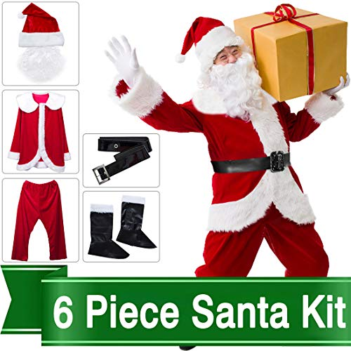 Christmas Santa Claus Costume Set Men Santa Costume Women Deluxe Santa Suits (Type -