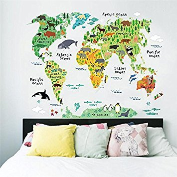 FairyTeller World Map Animals Wall Stickers Room Decorations Cartoon Mural Art Zoo Children Home Decals Posters 037. 5.0