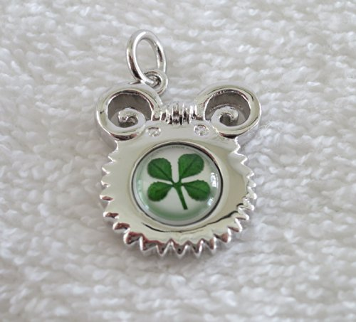 Premium Real Four Leaf Clover Lunar Chinese New Year Animal Series Pendant with 925 Silver Chain and Certificate (goat) (Lunar New Year Year Of The Goat)