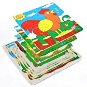 Kids Cartoon Puzzles - Cartoon Puzzle Set - Infant Toddler Baby Multi-layer Wooden Puzzle Toys Development Gift - Frog ( Baby Puzzle Toys )