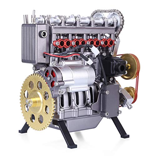 Goshfun Teching Mini Inline 4-Cylinder Car Engine, DIY Mechanical High Level Metal Exquisite Physics Science Experiment Educational Toy Decor Assembly Model Toy Gift