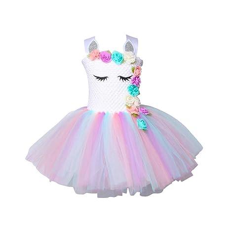 TENDYCOCO Unicorn Tutu Dress para Niñas Niños Birthday Party Unicorn Traje Outfit para 7 – 9 años