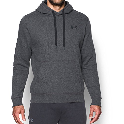 Under Armour Men's Rival Fleece Fitted Hoodie, Carbon Heather /Black, Large
