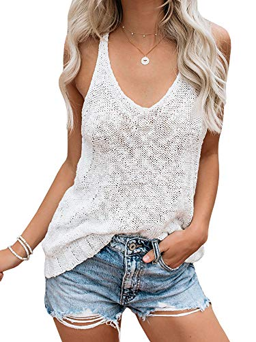 (Ybenlow Womens Summer Knit Racerback Tank Tops V Neck Sleeveless Sweater Casual Sheer Vest Shirt Blouses White)