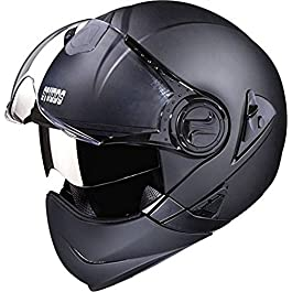 Studds Downtown F/F Helmet Matt Black(L) & Universal Helmet Security Guard/Lock for Fender Fitment