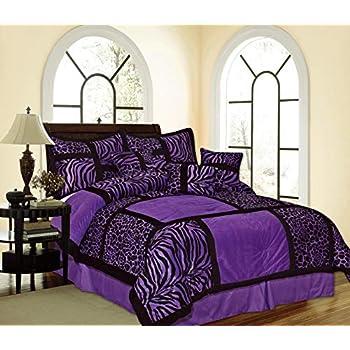 Amazon Com New 7pc Faux Silk Flocking Purple Black Zebra