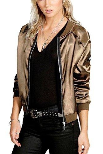 Women's golden Jacket Outwear Sleeve Long Casual Tunic Down Zipper rxrRaqv