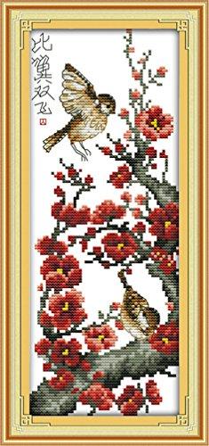 LovetheFamily クロスステッチキット DIY 手作り刺繍キット 正確な図柄印刷クロスステッチ 家庭刺繍装飾品 11CT ( インチ当たり11個の小さな格子)中程度の格子 刺しゅうキット フレームがない - 19×42 cm 梅の花