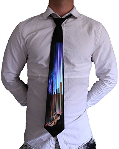 Electric Styles - Sound Activated LED Light Up Necktie, Animated Novelty Ties for Men - Fallin Astronaut]()
