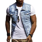 POHOK Clearance Deals ! Men's Autumn Winter Destroyed Vintage Denim Jacket Waistcoat Blouse Vest Top