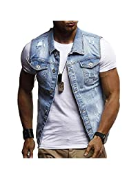 Men Denim Jacket,Vanvler Male Destroyed Waistcoat Blouse Autumn Winter Sleeveless Vest Top Fashion