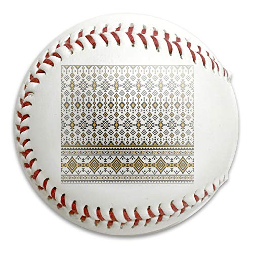 American Indian Aztec Geometric Seamless Personalized Low Impact Safety Softball Baseball for Indoor and Outdoor Training (Aztec Pitching Machine)