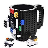 KYONNE Build-on Brick Mug, Building Blocks Coffee Cup, Unique Christmas Gift Idea (Black)