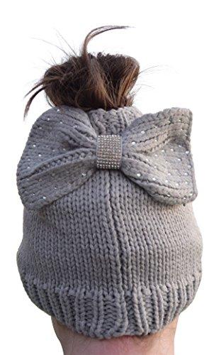 Nickanny's Messy Bun Beanie Slouchy with Hole Ponytail Hat Rhinestone Studded Bow (Grey) (Bow Rhinestone Studded)