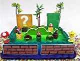 MARIO Brothers Birthday CAKE Topper Set Featuring Mario Figures,Themed Decorative Accessories, Figures Average .5'' to 1.5 Inches Tall