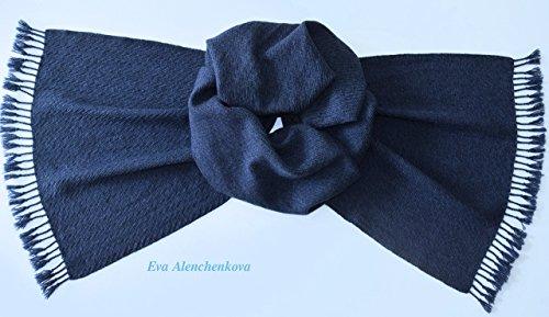 Blue Men's Silk Cashmere Hand Woven Scarf by Eva Alenchenkova