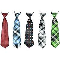 Boys Neckties Formal Wear Pre-Tied Polyester Necktie Set Elastic Neck Strap Tie Set of 5