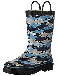 Western Chief Boys Printed Rain Boot, Shark Chomp, 13 M US Little Kid