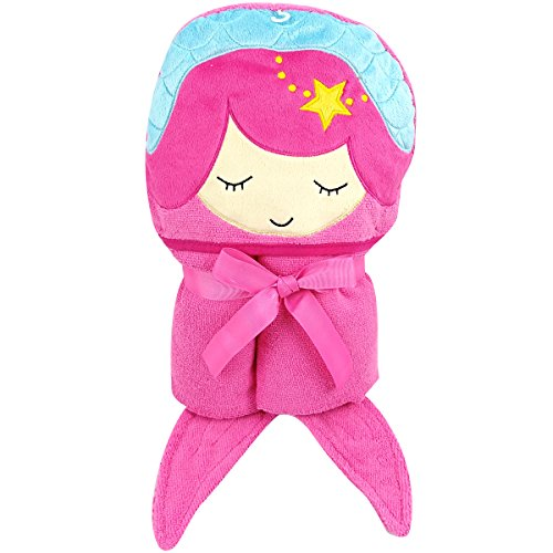 - Kids- Large Pink Mermaid Hooded Bath Towel for Girls with Fun Fish Tails and Star- 30