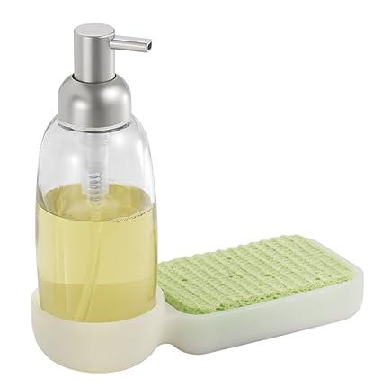 mdesign Jabón dispensador de silicona y cristal y soporte de esponja para la cocina – Transparente