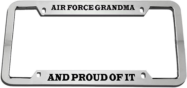 Speedy Pros Us Air Force Mom Military Zinc Metal License Plate Frame Car Auto Tag Holder Chrome 2 Holes