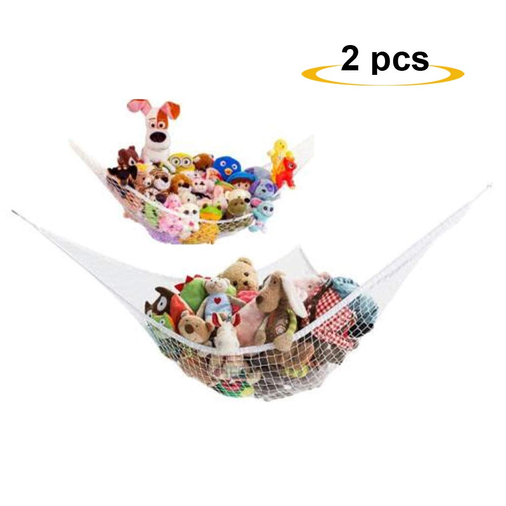 MorTime Toy Hammock,Toy Mesh Net, Expands to 6 feet, Pack of 2 (White)